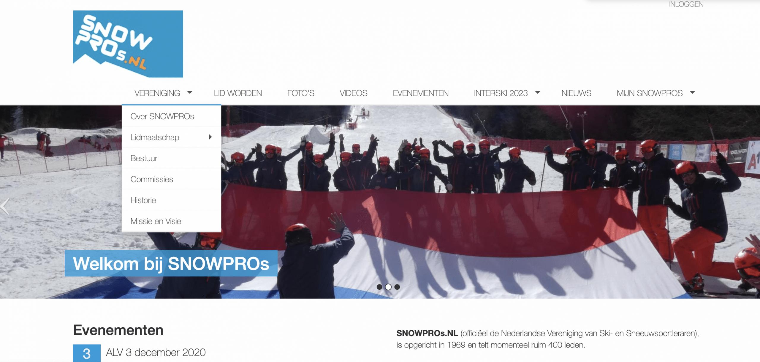 vereniging website menu