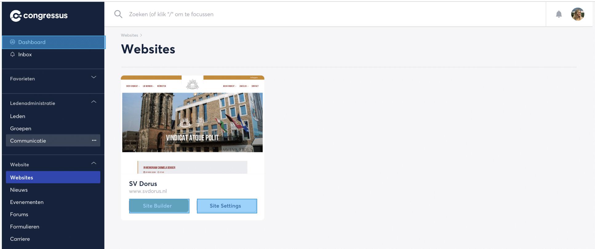 website vereniging congressus